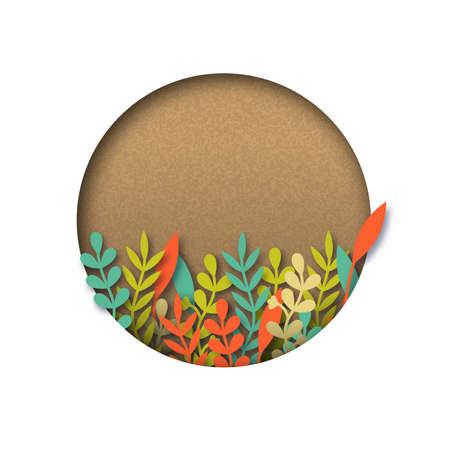 Modello di papercut riciclato vuoto con foglie tagliate di carta colorata. Spazio realistico della copia del ritaglio 3d sopra fondo bianco isolato.