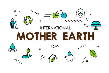 International Earth Day illustration. Green line icons and symbols for eco friendly activities, social environment awareness concept.