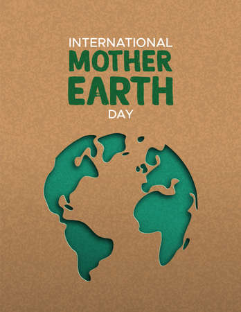 International Mother Earth Day poster illustration of green papercut world map. Recycled paper cutout for planet conservation awareness. Stock Illustratie