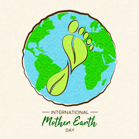 International Earth Day illustration of carbon footprint concept. Green planet and foot shape for environment care. Archivio Fotografico - 122042260