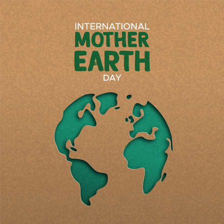 Illustrazione internazionale della Giornata della Madre Terra della mappa del mondo papercut verde. Ritaglio di carta riciclata per la consapevolezza della conservazione del pianeta.