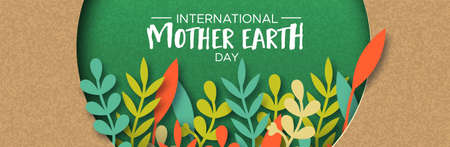 International Mother Earth Day papercut illustration. Colorful leaves inside green recycled paper cutout.