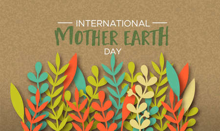 International Mother Earth Day illustration of colorful papercut leaves on recycled paper background. Illustration