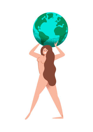 Young Woman holding planet earth on isolated white background. Mother nature concept for environment love and help.