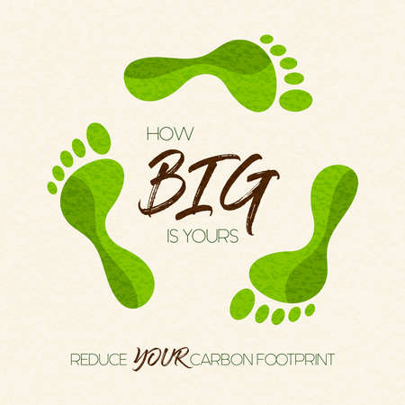 International Earth Day illustration of carbon footprint awareness message. Green foot shape concept for nature care. Vettoriali