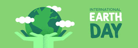 International Earth Day web banner illustration of green human hands holding planet with leaves. Social environment care awareness concept.