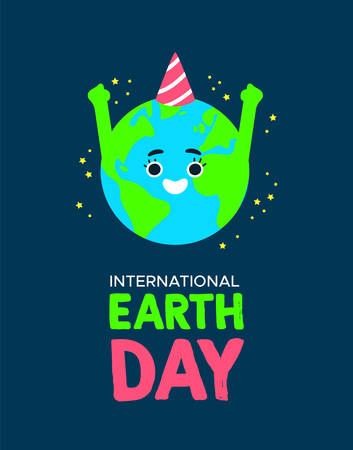 International Earth Day illustration of happy planet with birthday hat. World environment celebration concept.