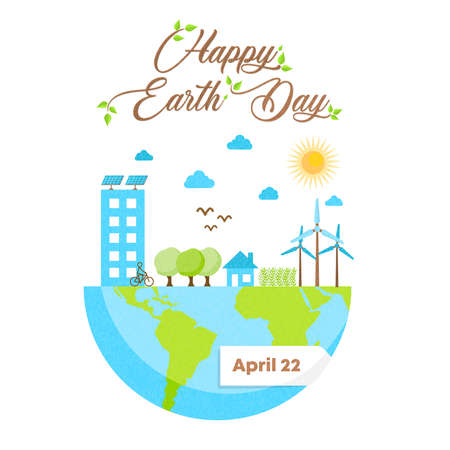 International Earth Day illustration. Green city inside planet for nature care and social environment awareness.