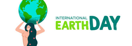 International Mother Earth Day web banner illustration of nature woman holding the planet for environment care concept. Stock Illustratie