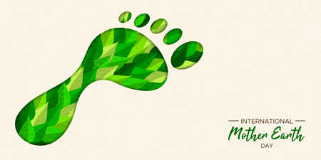 International Earth Day illustration of carbon footprint concept. Green papercut leaves in foot cutout shape for nature care.