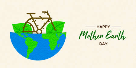 Mother Earth Day illustration of bike inside green planet for eco friendly transport and environment care.
