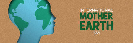 International Mother Earth Day web banner illustration of papercut woman head with world map inside. Recycled paper cutout for environment conservation awareness.