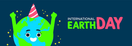 International Earth Day web banner illustration of happy planet with birthday hat. World environment celebration concept.