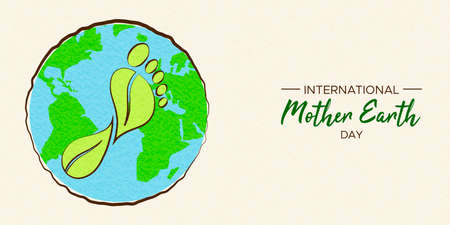 International Earth Day illustration of carbon footprint concept. Green planet and foot shape for environment care.