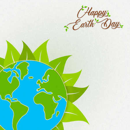 International Happy Earth Day illustration. Green planet with plant leaves for nature care and environment help. Stock Illustratie