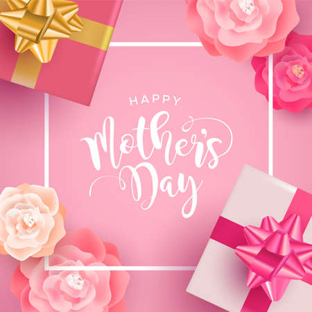 Beautiful Mothers Day greeting card illustration, realistic spring flowers and gift boxes with calligraphy text quote on pink background.