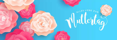 Happy Mothers Day, web banner illustration in german language for mom love holiday. Pink spring rose flowers on blue background.