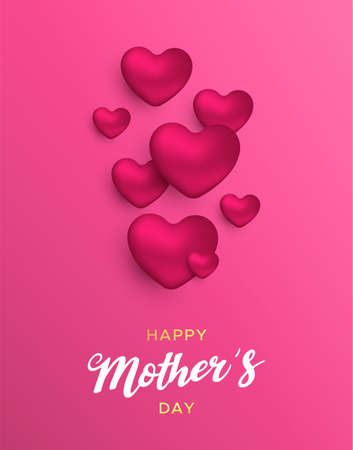 Happy Mothers Day card illustration for moms love. Realistic 3d heart balloons with text quote on pink color background. Ilustração
