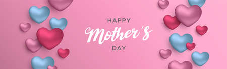 Happy Mothers Day banner illustration for moms love. Realistic 3d blue heart balloons with text quote on pink color background. Illustration