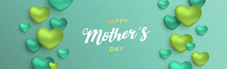Happy Mothers Day card illustration for moms love. Realistic 3d heart balloons with text quote on green color background.