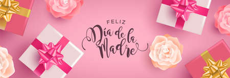 Mothers Day web banner illustration in spanish language. Realistic spring flowers and gift boxes with calligraphy text quote on pink background.