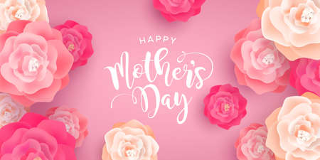 Mothers Day card illustration for special mom holiday. Beautiful spring flowers on pink background with calligraphy quote. Illustration