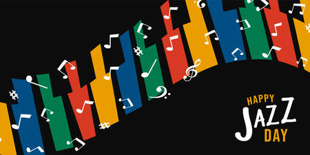Jazz Day illustration of colorful piano key background with musical notes decoration for concert event.  イラスト・ベクター素材