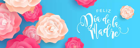 Happy Mothers Day, web banner illustration in spanish language for mom love holiday. Pink spring rose flowers on blue background.