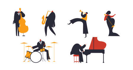 Set of jazz band people playing diverse music instruments and singer. Includes drum, saxophone, trumpet, piano player Stock Illustratie