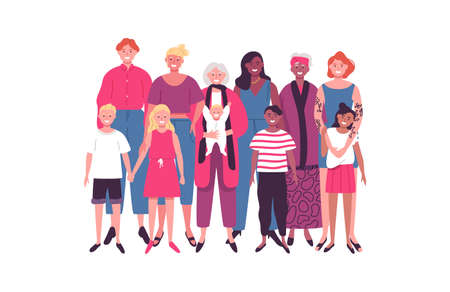 Diverse women group of moms and children for special family holiday, motherhood concept or mothers day. Ilustração