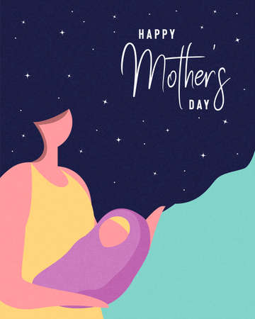 Happy Mothers Day card illustration. Woman with long hair holding baby for motherhood concept or mother love.