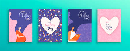 Happy Mothers Day greeting card collection. Illustration set of pregnant woman and mom with long hair for motherhood concept or mother love.