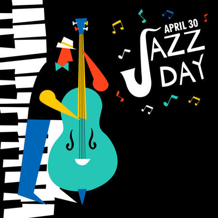 Jazz Day illustration for music celebration event. Man playing double bass with piano key background. Banque d'images - 122042322