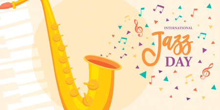 International Jazz Day illustration of saxophone and colorful music notes for concert or festival event celebration.