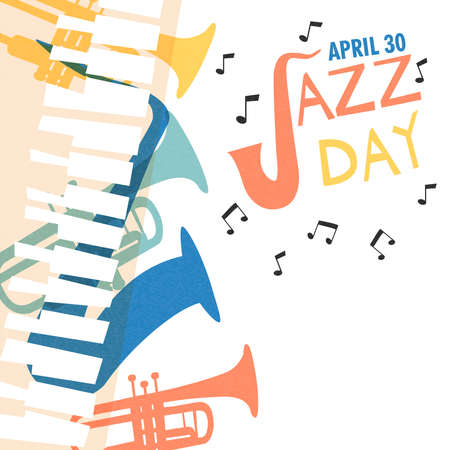 April 30 Jazz Day poster illustration of diverse music band instruments with musical notes. Includes trumpet, saxophone, piano and guitar. Illustration