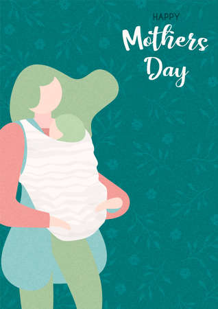 Happy Mothers Day card illustration. Woman holding baby for motherhood concept or mother love.