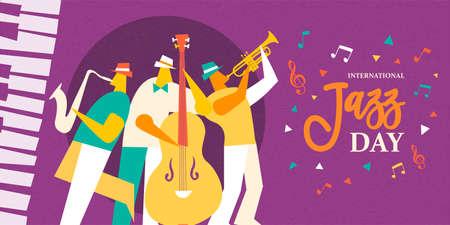 Ilustración del Día Internacional del Jazz de una banda de música en vivo tocando diversos instrumentos musicales en un concierto o evento de festival.