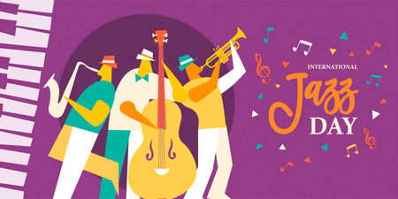 International Jazz Day illustration of live music band playing diverse musical instrument in concert or festival event.