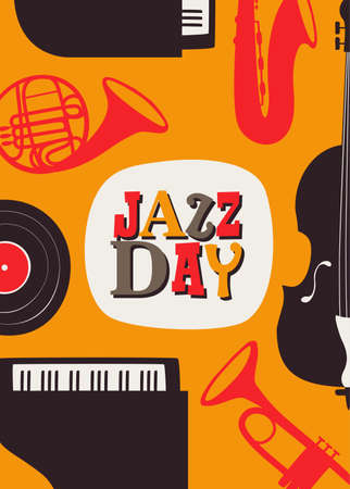 Jazz Day poster illustration for music festival event or concert. Retro background with vintage style band instruments. Illustration