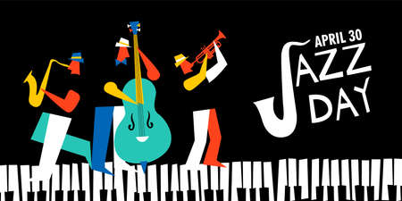 Jazz Day illustration for music celebration event. Live band playing saxophone, trumpet and double bass with piano keys.