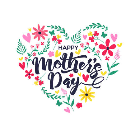 Happy Mothers Day greeting card illustration with cute hand drawn spring flowers and calligraphy text quote inside heart shape.