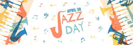 April 30 Jazz Day social banner illustration of diverse music band instruments with musical notes. Includes trumpet, saxophone, piano and guitar.