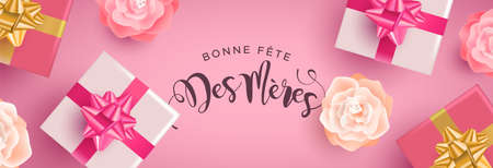 Mothers Day web banner illustration in french language. Realistic spring flowers and gift boxes with calligraphy text quote on pink background.