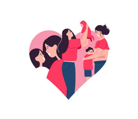 Mothers Day isolated illustration for motherhood or single parent concept. Mom with children, baby and pregnant mother inside heart shape. Illustration