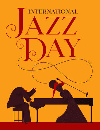 International Jazz Day poster illustration of elegant woman singer and piano player for special concert or event.