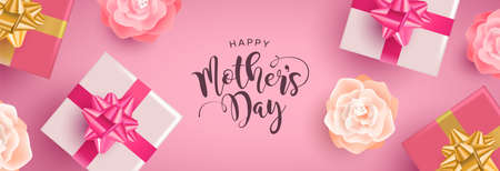 Mothers Day web banner illustration, realistic spring flowers and gift boxes with calligraphy text quote on pink background.