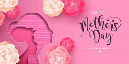 Mothers Day card illustration in papercut style for best mom. Paper cutout mother with child and realistic pink flowers. Standard-Bild - 122042356