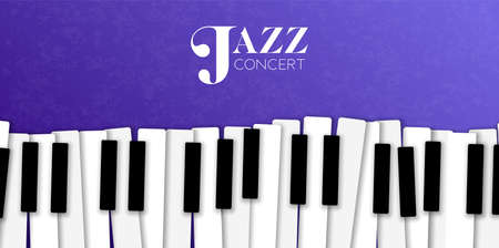 Jazz concert banner illustration of piano key background for live music invitation or musical festival.  イラスト・ベクター素材
