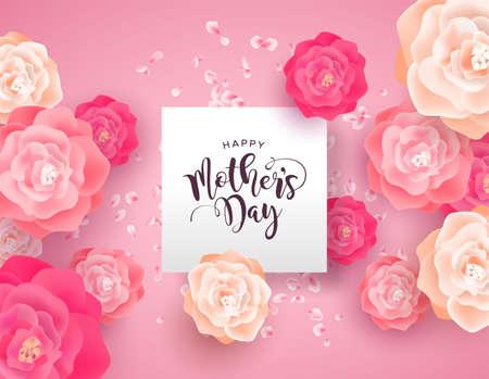 Illustration de la carte de la fête des mères pour les vacances spéciales de maman. Belles fleurs de rose printanière sur fond rose avec citation de signe de papier. Vecteurs