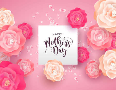 Mothers Day card illustration for special mom holiday. Beautiful spring rose flowers on pink background with paper sign quote.